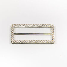 5 × Large Rectangle Crystal Diamante Silder Buckle - 70mm - Ribbons Dress Craft