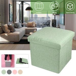 30*30*30cm Foldable Storage Stool Cotton Linen Ottoman Box Stable Storage Seat