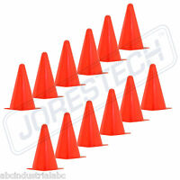 "9"" INCH ORANGE CONES (SET OF 12) SPORTS AGILITY TRAFFIC FIELD ROAD SOCCER"