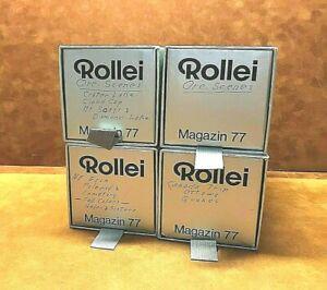 "Lot (4) ROLLEI MAGAZIN 77 Slide Trays ~ Holds 30 Slides Each ~ 2 3/4"" x 2 3/4"""