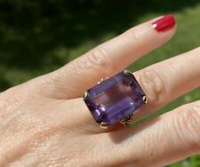 VINTAGE ESTATE LARGE AMETHYST 14K GOLD  RING SIZE 7 20x15 mm