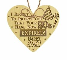 Novelty 30th Birthday Gifts For Friend Wooden Heart Sign Funny Gifts For Men