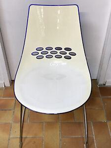 JAM - hochwertiger Design - Stuhl von Calligaris Connubia, Chrom - weiß - blau