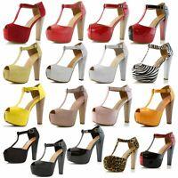 DailyShoes Women Platform Sandals Open Peep Toe T-Strap Pumps Thick Heel Shoes