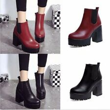 Winter Women Chelsea Chunky Shoes Ankle Boots Platform Block High Heels Zipper