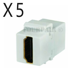 5 Pack Lot HDMI Keystone Wall Plate Snap-In Jack Insert Coupler Female - White
