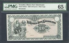 Ecuador, Banco Sur Americano, 20 sucres, 1920, PMG Gem UNC 65 EPQ P-S253r1