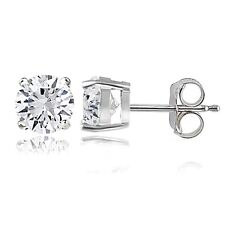 Sapphire Round Stud Earrings, 6mm 925 Silver 2ct Created White