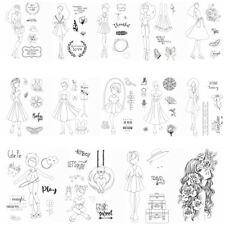 Modern Girls Dress Clear Rubber Stamps Seal Embossing Stamping Craft Card Album