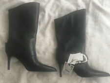 Zara Black Leather Boots Size 3 BNWT