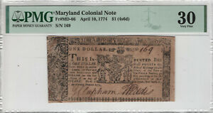 APRIL 10 1774 $1 MARYLAND COLONIAL NOTE CURRENCY MD-66 PMG VERY FINE 30 (082)