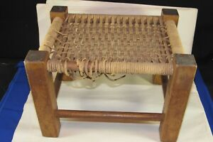 Vintage A&C Walnut Foot Stool Bench,Rope Seat Needs Repair,Craft Arts & Crafts