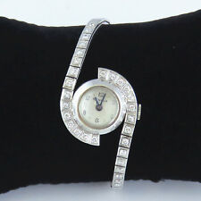 NYJEWEL Geneva 14k White Gold 1.8ct Diamonds Ladies Bracelet Wrist Watch Running