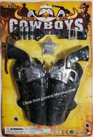 TOY Cowboy 2pc  Plastic Gun Pistols WILD WEST Play w/BULLETS,BADGE & HOLSTERS