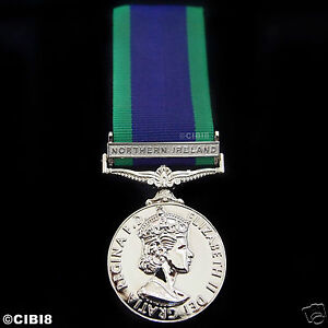 FULL SIZE GENERAL SERVICE MEDAL WITH NORTHERN IRELAND CLASP - NI GSM 1962 REPRO
