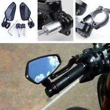 """1 Pair Black Motorcycle MotoBike 7/8"""" 22mm Handle Bar End Rearview Side Mirrors"""