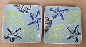 Ashland Summer Living 2 Nautical Ceramic Plates, Microwave & Dishwasher Safe