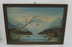 Antique 1900's Primitive Oil Painting of Lake Erie Signed E Weaver