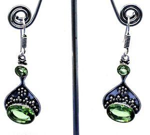 925 Sterling Silver Green Peridot Gemstone Handmade Jewelry Earring Size-1.80''