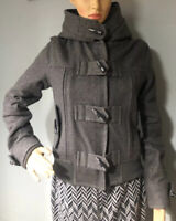 Top Shop Womens Duffle Cropped Jacket Hood Uk Size 10 Grey Wool Blend Great Cond