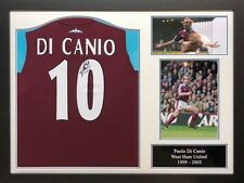 FRAMED PAOLO DI CANIO SIGNED WEST HAM UNITED FOOTBALL SHIRT PROOF & COA HAMMERS
