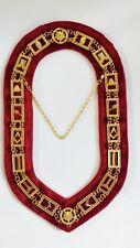 Masonic Blue Lodge Symbols Chain Collar Gold Plated Red Velvet Backing+FreeCase
