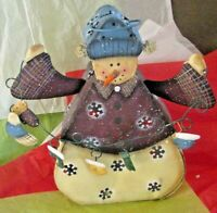 """Tin Snowman Tealight Votive candle holder 11"""" Tall W/ Hanging Mittens Snowflake"""