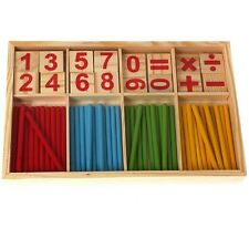 Wooden Math Counting Game Sticks Kids Educational Learning Numbers Abacus YU