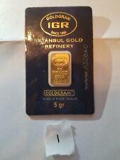 5 GRAM GOLD BAR-IGR GOLDGRAM ISTANBUL 999.9 FINE ORIGINAL SEAL