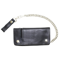 Mens Black Leather Bifold Wallet Motorcycle Chain Biker Trucker ID Card Holder