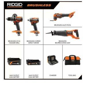 RIDGID 18V Brushless Cordless 4-Tool Kit