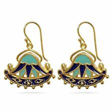 Egyptian Lotus Dangle Earrings -  Aqua and Royal Blue Lotus Flower