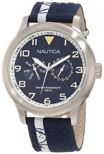 Nautica BFD Multifunction Blue Canvass Men's Watch N13607G New in Box