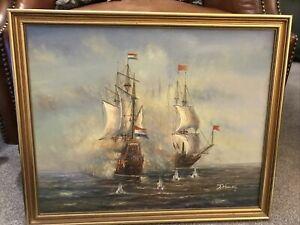 Original J.Harvey Ship Oil On Canvas Painting