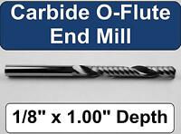 "1/8"" x 1.00"" Depth 'O' Flute Carbide End Mill -  Aluminum Plastic Acrylic M122"