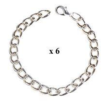6 x CHILDS Silver tone Charm Bracelet Blanks -6 inch (15cm)