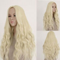 Women Long Wavy Light Blonde Curly Wig Full Hair Fancy Dress Party Anime Cosplay