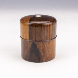 Antique Turned Rosewood - Pocket Travel Inkwell Ink Bottle
