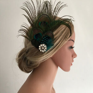 Vintage 1920s Flapper Hair Clip,  Headpiece Headband with Peacock Feather and