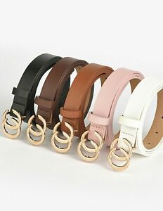 ladies fashion double buckle double ring faux leather narrow gold buckle belt