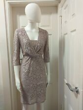 REISS mink pink floral lace Andree V-neck pencil wiggle dress size 10UK. EU38.