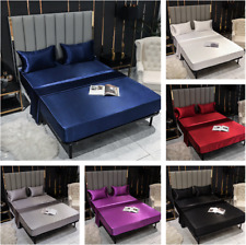 Bed Sheets Flat Fitted Sheet Bedding Sets Bedskirt Silk Satin Mattress Covers