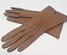 Top quality LEATHER gloves Womens SMALL hands size 6.5 TAN Brown Preowned