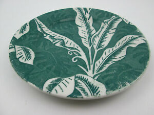 "Vintage Tepco Green Palm / Banana Leaf / Shadow Leaf Plate 7"" El Cerrito CA"