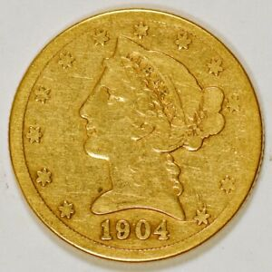 1904-S United States $5 Half Eagle Gold Coin, Liberty Head, San Francisco Mint