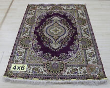 Carpet 4'X 6' Silk Kerman Oval Pattern Rug Exquisit