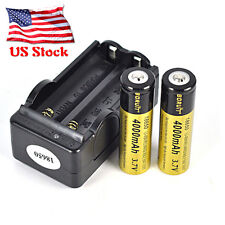 2PCS 18650 3.7V  4000mAh Li Rechargeable Battery for Headlamp+US Dual Charger