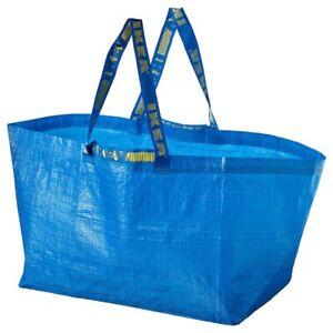 NEW IKEA FRAKTA LARGE BAG BLUE 19 GALLON 2 SETS HANDLES SHOPPING TOTE LG