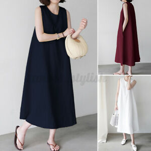ZANZEA Womens Solid Cotton Sleeveless Dress O Neck Pockets Loose Dresses Plus