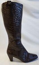 ECCO Brown Leather Mid Calf Faux Croc Print Heel Boots Womens  EU 40 US 9.5